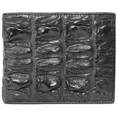 Портмоне чоловіче зі шкіри крокодила чорне ALM 03 BT Black , фото