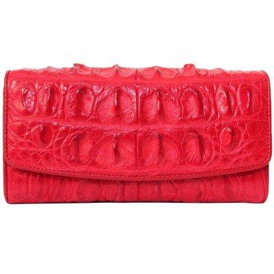 Гаманець жіночий зі шкіри крокодила червоний PCM 03 T Fire red , фото