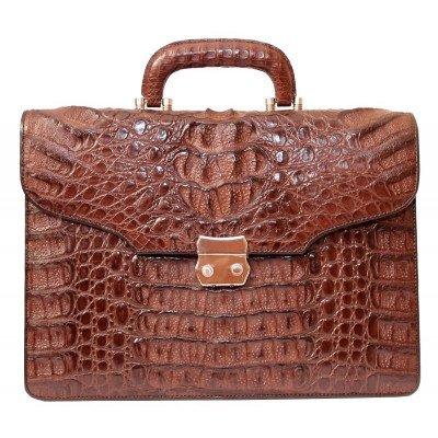 Портфель мужской из кожи крокодила коричневый DCM 1527 G Brown , фото