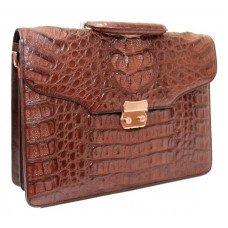 Портфель мужской из кожи крокодила коричневый DCM 1527 G Brown