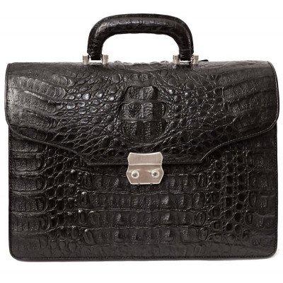 Портфель мужской из кожи крокодила черный DCM 1527 S Black , фото