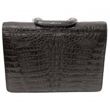 Портфель мужской из кожи крокодила черный DCM 1527 S Black