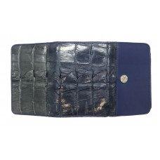 Гаманець жіночий зі шкіри крокодила синій PCM 63 BT Blue