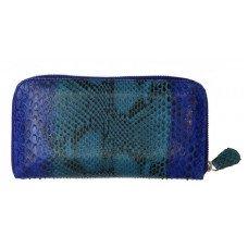 Гаманець жіночий зі шкіри пітона синій PTWI 11/15 Blue