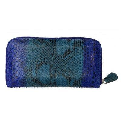 Гаманець жіночий зі шкіри пітона синій PTWI 11/15 Blue , фото