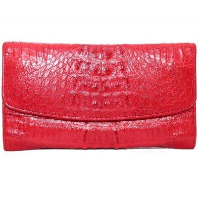 Гаманець жіночий зі шкіри крокодила червоний PCM 03 ST Fire red , фото