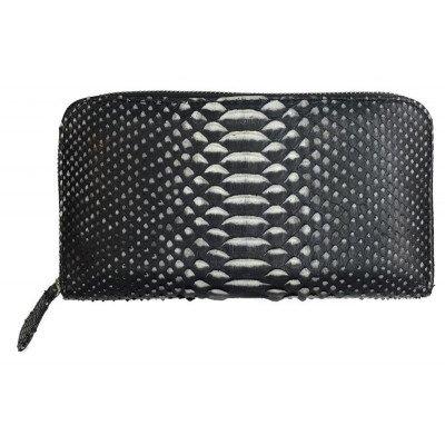 Кошелек из кожи питона черный PTWI 11 EX Black Premium , фото