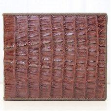 Портмоне чоловіче зі шкіри крокодила коричневе ALM 03 T Brown