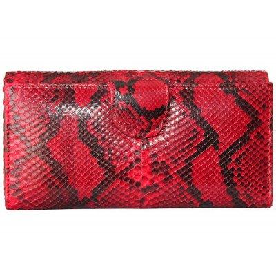 Кошелек женский из кожи питона красный PT 043 Red