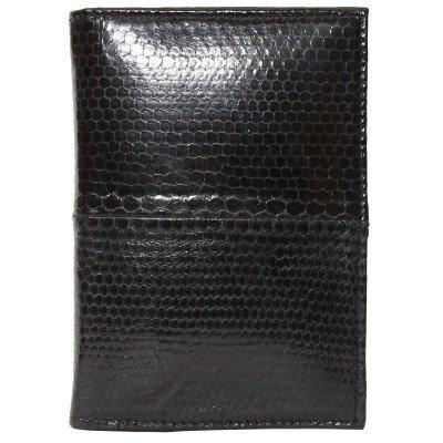 Обложка для паспорта из кожи морской змеи черная SNPH 01 Black