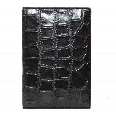 Обкладинка для документів зі шкіри крокодила чорна ALDH 20 B Black , фото