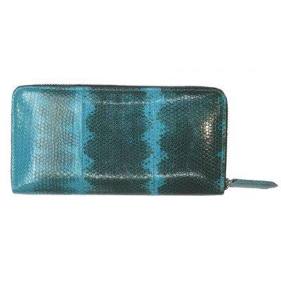 Кошелек женский из кожи морской змеи синий SN 11 P Turquise , фото
