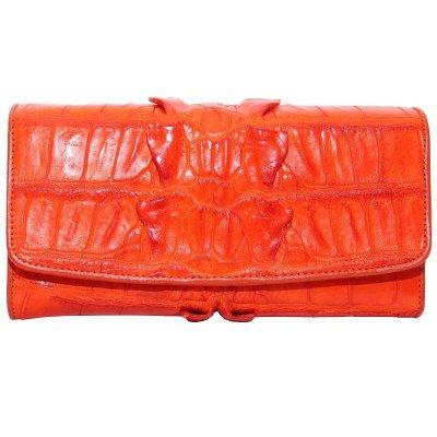 Гаманець жіночий зі шкіри крокодила коричневий PCM 03 BT Orange