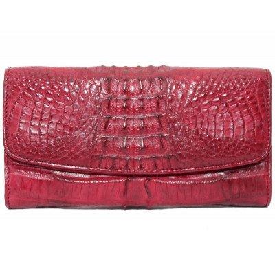 Гаманець жіночий зі шкіри крокодила червоний PCM 03 ST Burgundy , фото