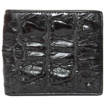 Гаманець чоловічий зі шкіри крокодила чорний ALM 04 BT Black , фото