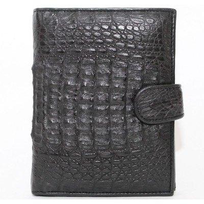 Портмоне мужское из кожи крокодила черный ALMP 006H Black , фото