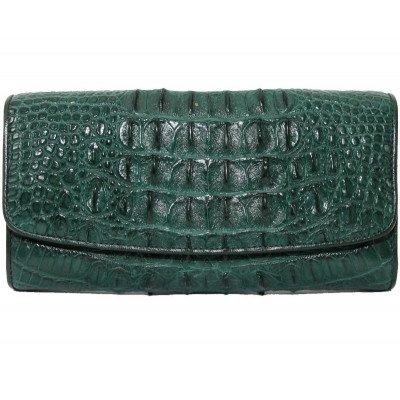 Гаманець жіночий зі шкіри крокодила зелений PCM 03 CB Green , фото