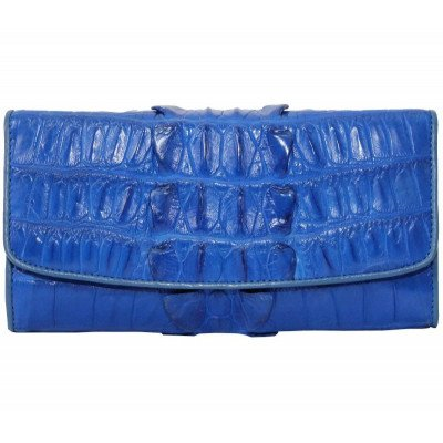 Кошелек женский из кожи крокодила синий PCM 03 BT Ocean Blue , фото