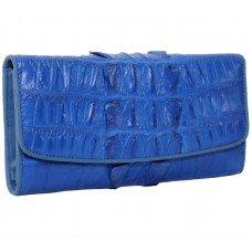 Кошелек женский из кожи крокодила синий PCM 03 BT Ocean Blue