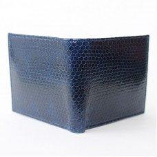Портмоне мужское из кожи морской змеи синее SN 22 Dark Blue
