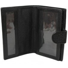 Гаманець чоловічий зі шкіри ската чорний STP 9001 Black