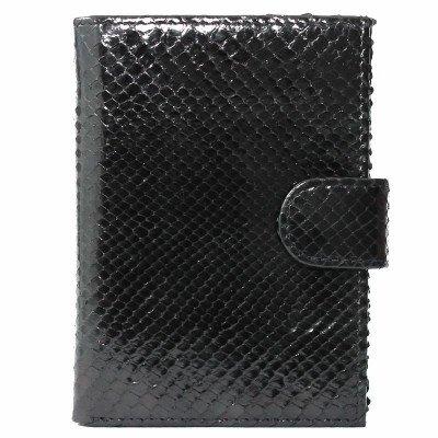 Портмоне мужское из кожи питона черное PTP 006 Black , фото