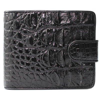 Кошелек мужской из кожи крокодила черный ALM 97 Black , фото
