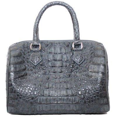 Сумка женская из кожи крокодила серая BCM 221 Grey