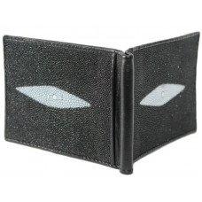 Зажим для купюр из кожи ската черный STMC 02 Black