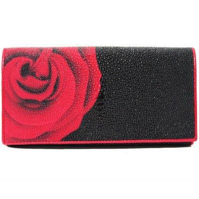 Гаманець жіночий зі шкіри ската чорний ST 53 ART 032 Rose