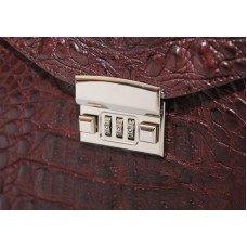 Портфель мужской из кожи крокодила коричневый DCM 48 Brown