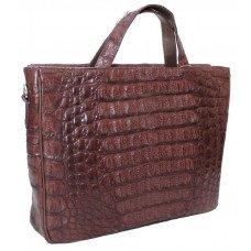 Портфель из кожи крокодила коричневый DCM 52 Brown