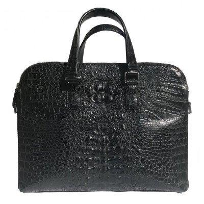 Портфель зі шкіри крокодила чорний DCM 57 Black , фото