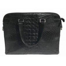 Портфель из кожи крокодила черный DCM 57 Black