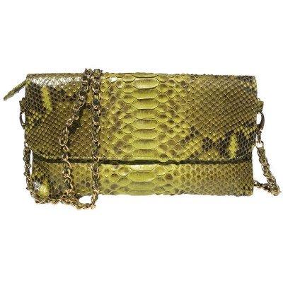 Клатч жіночий зі шкіри пітона зелений PT 8286 Lime