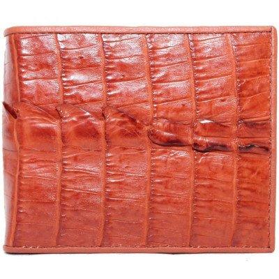 Кошелек мужской из кожи крокодила коричневый ALM 03 T Tan