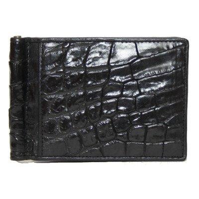 Зажим для купюр из кожи крокодила черный ALNT 59B Black , фото