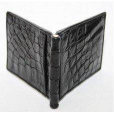 Зажим для купюр из кожи крокодила черный ALNT 59B Black