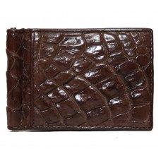 Зажим для купюр из кожи крокодила коричневый ALNT 59B Brown
