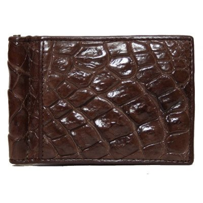 Зажим для купюр из кожи крокодила коричневый ALNT 59B Brown , фото