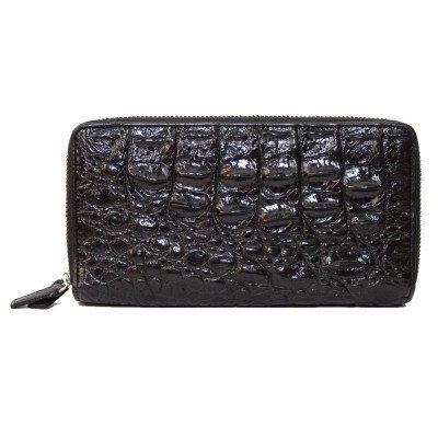 Гаманець зі шкіри крокодила чорний ZAM 15 BS Black , фото