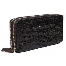 Гаманець зі шкіри крокодила чорний ZAM 15 BS Black