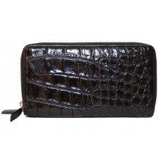 Гаманець зі шкіри крокодила чорний ZAM 15 B Black