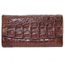 Кошелек женский из кожи крокодила коричневый PCM 03 TH Brown