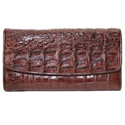 Гаманець жіночий зі шкіри крокодила коричневий PCM 03 TH Brown , фото