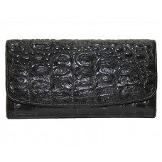 Гаманець жіночий зі шкіри крокодила чорний PCM 03 T Black
