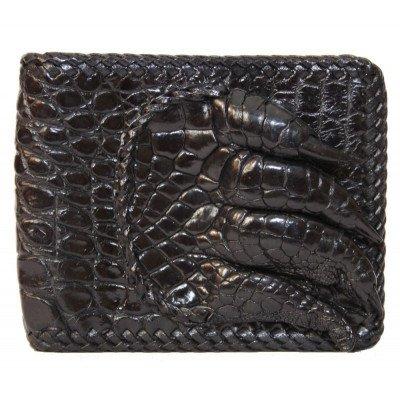 Портмоне чоловіче зі шкіри крокодила чорне ALM 04 PL Black , фото