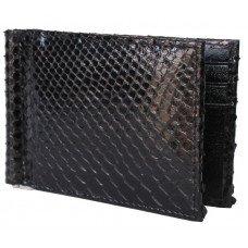 Зажим для купюр из кожи питона черный PTMC 01 Black