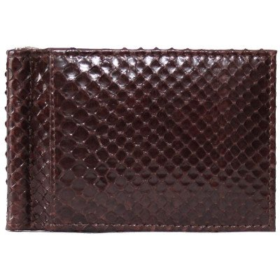 Затискач для купюр зі шкіри пітона коричневий PTMC 01 Brown