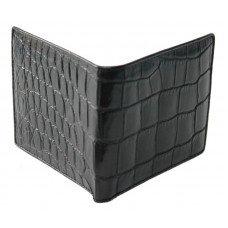 Кошелек мужской из кожи крокодила черный ALM 03 EX Black